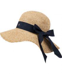 Roeckl 61032-057 122 sieviešu cepure bēšā krāsā ar zilu lenti