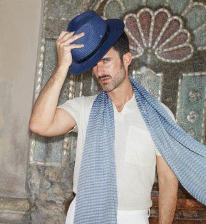 Roeckl 61032-085 559 vīriešu salmu cepure zilā krāsā
