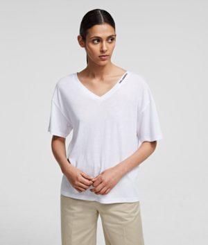 Karl Lagerfeld 211W1701 sieviešu t-krekls balts