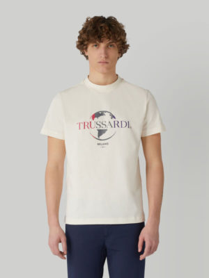 Trussardi 52T004431T005227W004 vīriešu t-krekls balts