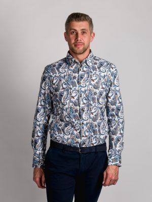 Fakts 1004-256 vīriešu krekls ar modernu apdrukas dizainu