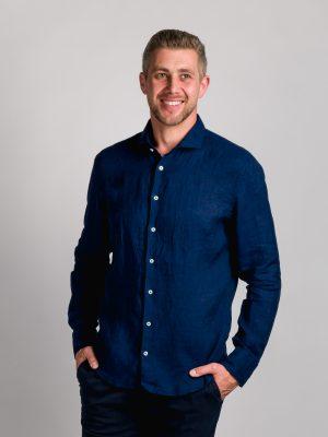 Fakts 6018-291 vīriešu krekls tumši zilā krāsā