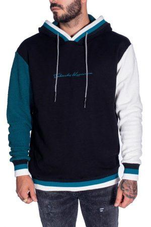 Takeshy Kurosawa 82796VARIANTEUNICA vīriešu džemperis ar kapuci tumši zilā krāsā