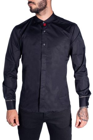 Takeshy Kurosawa 82803NERO vīriešu krekls melnā krāsā
