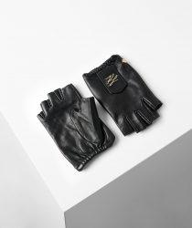 Karl Lagerfeld 211W3601997 sieviešu ādas cimdi melnā krāsā