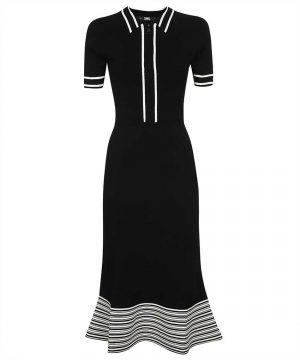 Karl Lagerfeld 215W1364999 sieviešu midi kleita melnā krāsā
